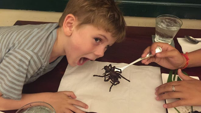 Seven-year-old Ambroise de Quillacq sizes up a fried tarantula in Cambodia.