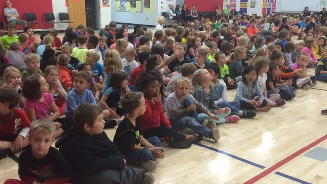 Riverview Elementary students at an assembly. If a proposed Wausau school referendum passes, Riverview would be one of seven elementary schools that would remain.