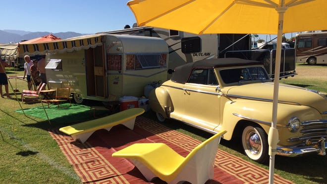 Tim Priehs, of Cathedral City has a mid-century motif for his RV camping spot at Desert Trip.