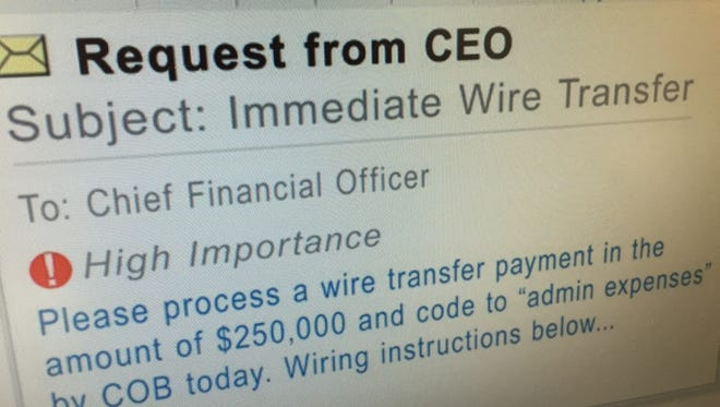Businesses are being targeted by emails that impersonate the CEO and demand that money be wired immediately to specific suppliers.