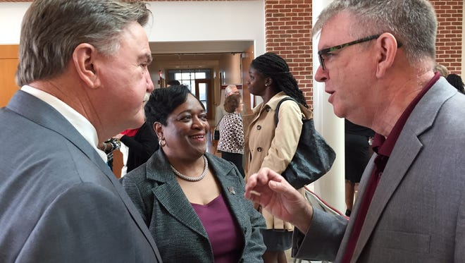 In this Oct. 19, 2016 photo, UMES President Juliette Bell chats with Secretary James Fielder Jr., of the Maryland Higher Education Commission (l) and Dominick Murray, UMES acting director of Business and Economic Development. They attended the dedication of the UMES Engineering & Aviation Science Complex, for which Fielder gave remarks on behalf of Gov. Larry Hogan.