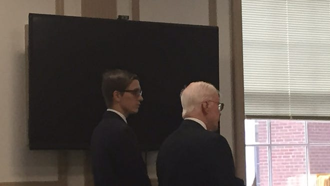 On left, Colin Bolger with defense lawyer Robert Costello in Superior Court, Morristown, on Oct. 21, 2016.