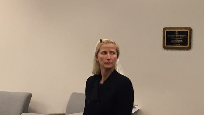 Randolph Township Police Officer Melissa Bailey stands for the jury at a trial in Superior Court, Morristown, on her gender discrimination claims. gender