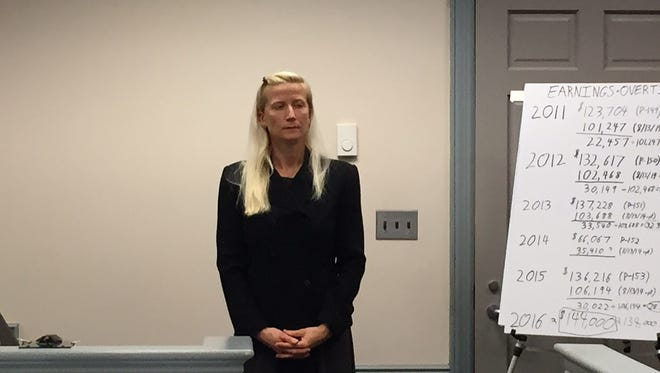 Randolph Police Officer Melissa Bailey at her trial against the department over alleged gender discrimination, on Nov. 10, 2016.