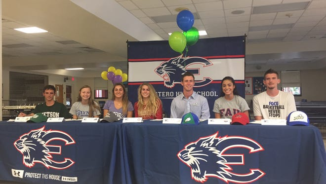 Seven Estero High athletes signed their national letter of intents to join college programs on Monday during the NCAA early signing period