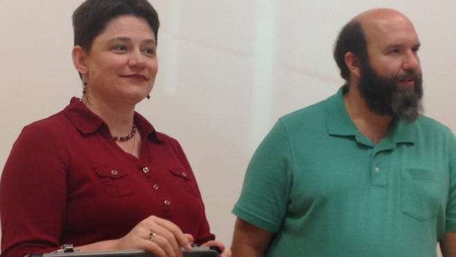 Michelle and Andrew Gage talk about ghosts at Carnegie Library during a presentation at Kennedy Library.