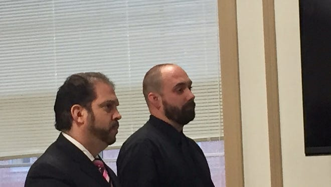 From left, attorney Nelson Gonzalez appears with defendant Christopher J. Remaly in Superior Court, Morristown, on Nov. 30, 2016.