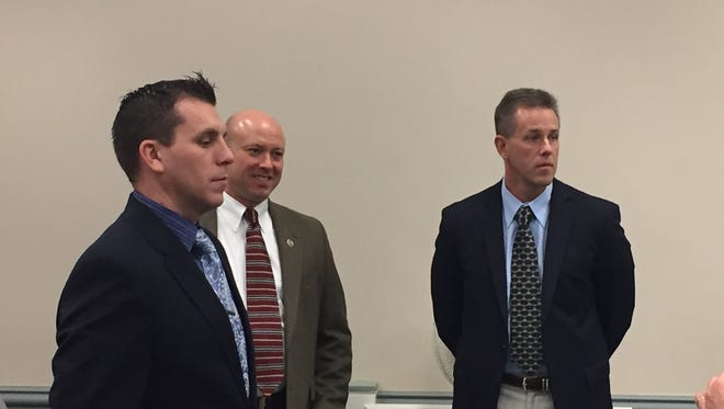 From left, Randolph Police Lt. William Harzula, Police Chief David Stokoe and former Chief Robert Mason, in Superior Court, Morristown, on Nov. 30, 2016.