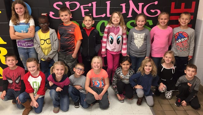 Niagara Elementary November leaders of the month are, front row from left: Ross Plummer, Lilly Shelton, Hailey Moore, Keagan Varble, Lyllian Sandefur, Payton Dunn, Tyler Suggs, Kylie Woods and Jackson Parker. Back row: Mackenzie Benzel, Jeremy Joseph, Eli Hager, Cameron Vick, Kayla Sawyer, Addison Brewer, Irah Plummer and Carter Siewert.