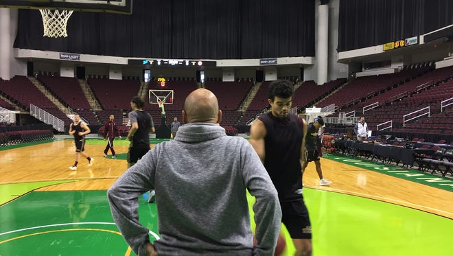 ULM coach Keith Richard directs his team during practice Friday afternoon at the CenturyLink Center.