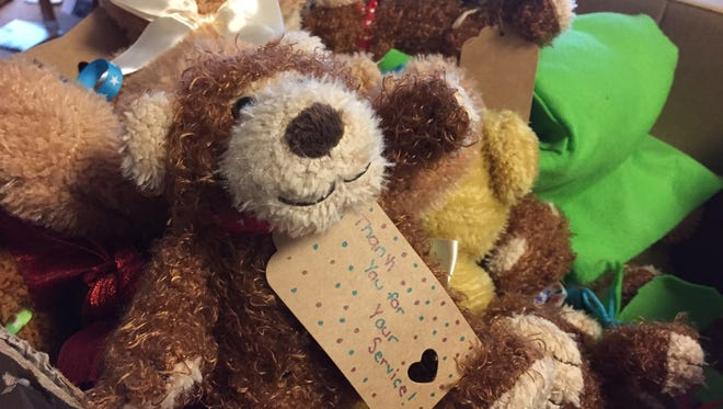 Rosanna Fassnacht, a Lafayette woman, collected roughly 300 teddy bears  and prepared them Saturday, Dec. 31, 2016, to be shipped to active-duty service members all over the world.