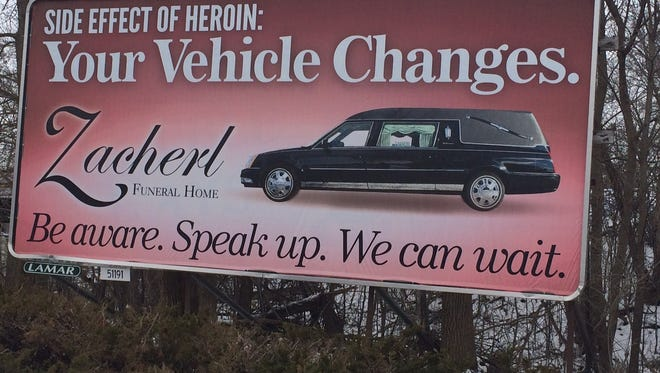 A billboard in Fond du Lac put up by local funeral home in 2016 warned about the dangers of heroin.