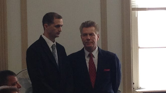 Ryan Eastridge, left, in Superior Court, Morristown, in July 2014 with defense lawyer Edward Bilinkas.