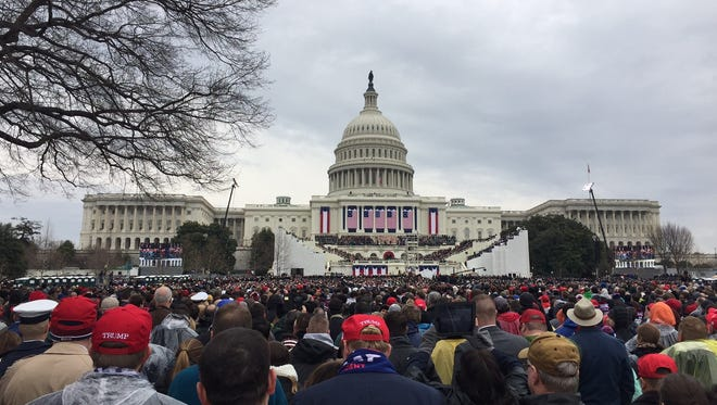 The vantage point of a party of Delawareans watching the inauguration of President Donald Trump.
