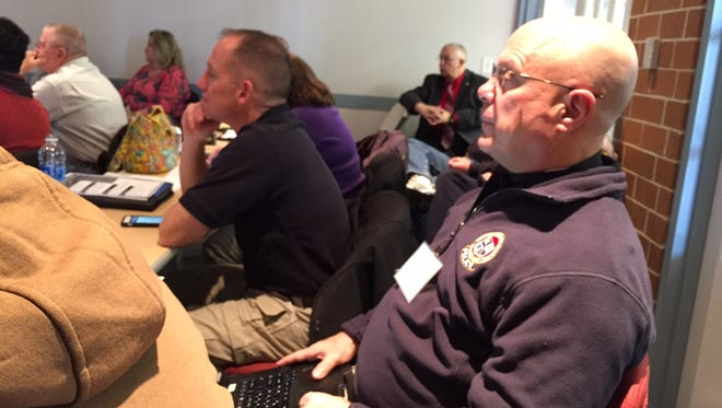 In this Jan. 27, 2017 photo, Ocean City Police Department Lt. Mark Pacini listens to the active shooter discussion at the Salisbury Fire Department.