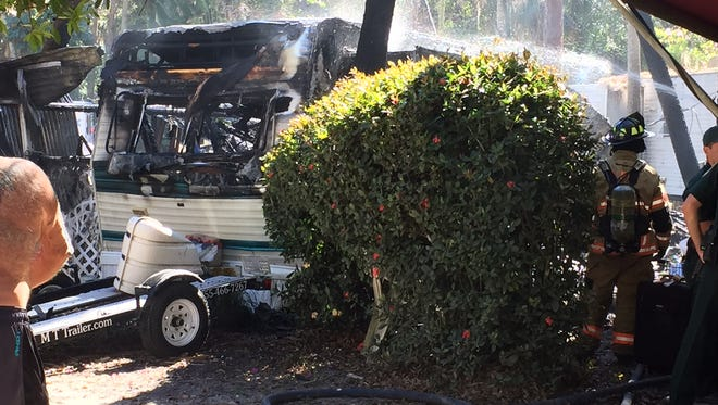 A trailer was destoryed by fire at the Swift Trailer Park in North Fort Myers on Tuesday, Jan. 31, 2017.
