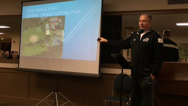 Fort Mitchell Parks Director Kyle Bennett presents three options for improvements to General Ormsby Mitchel Park.