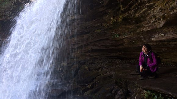Karen behind Schoolhouse Falls in Panthertown Valley,