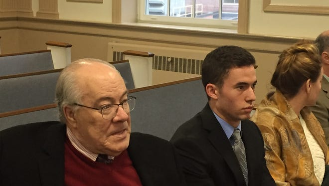 From left, defense lawyer Michael Kelly with client Anthony Darrigo in Superior Court, Morristown, on Feb. 7, 2017.