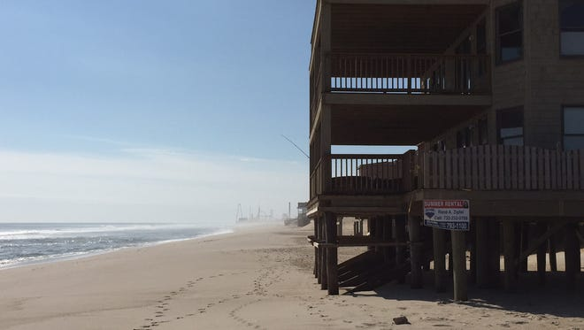 The beach in front of the Golden Gull condominiums in Ortley Beach
