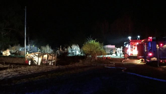 Firefighters respond Sunday night to a fatal fire on Brooksmoore Road near Walhalla.