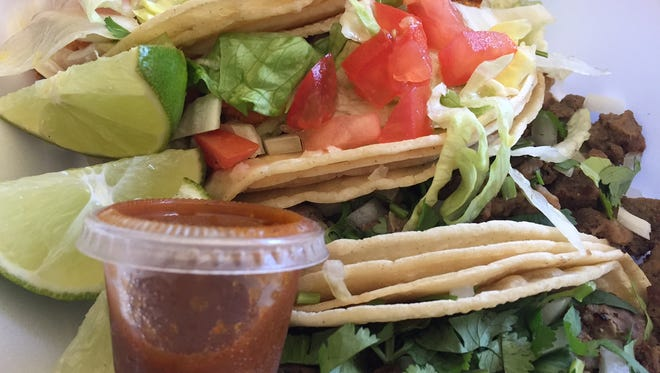 Street-style chicken and steak tacos ($2 each) are available Mondays through Saturdays at the Liberty gas station on Limestone Road (Rt. 7) in Pike Creek.