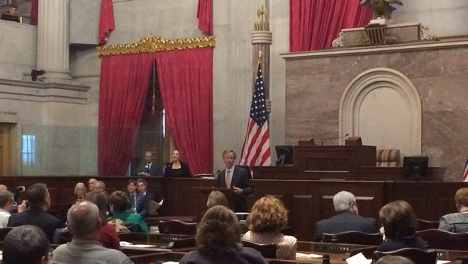 Gov. Bill Haslam speaks during a Holocaust remembrance event Tuesday at the state capitol.