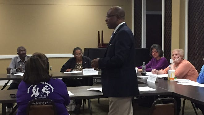 Mayor Johnny DuPree speaks about the proposed 1 percent sales tax increase Thursday at a Hattiesburg Council of Neighborhoods meeting.