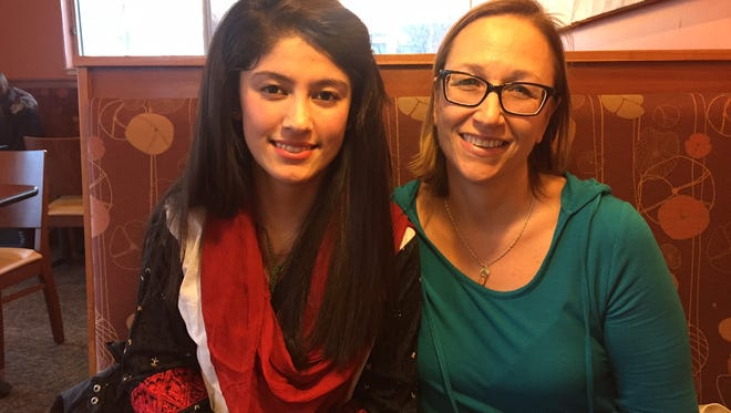 Sadia Abdulshah (left), pictured with  her YES program liaison Laurie Fernandez, is attempted to dispel misconceptions about Muslims. Sadia is a foreign exchange student in Pewaukee.