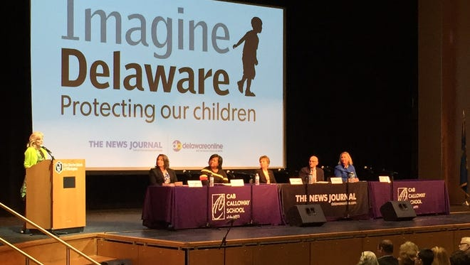 Former second lady Jill Biden opens the Imagine Delaware: Preventing Child Abuse forum at Cab Calloway School of the Arts in Wilmington on Friday, March 31, 2017.