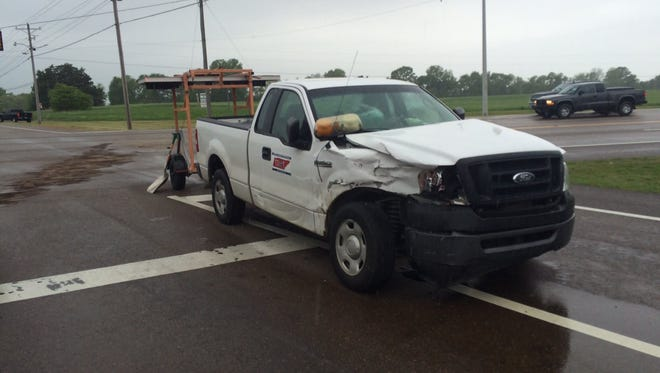 A Tennessee Department of Transportation truck was hit Friday in Dresden.