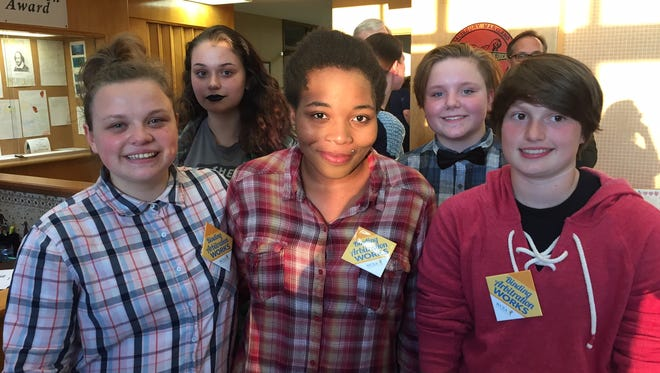 James M. Bennett students outside the Board of Education meeting are from left: Dai'Sha Berry, Darla Simms, Caitlyn Malone, Cecilia Imirie and Ambrozia Howard.