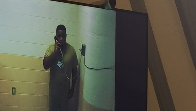 Jamel Taylor, charged with endangering the welfare of his children, appears via a video link between the Morris County jail and Superior Court on May 26, 2017.