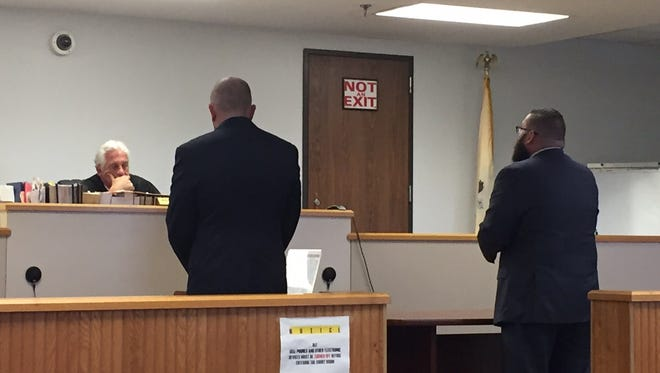 Attorney William Strazza and Prosecutor Timothy Arch appear before South Brunswick Municipal Court Judge Michael V. Dowgin on Tuesday to settle animal cruelty charges lodged against former Helmetta Regional Animal Shelter Director Michal Cielesz and Richard Cielesz, former assistant shelter director.