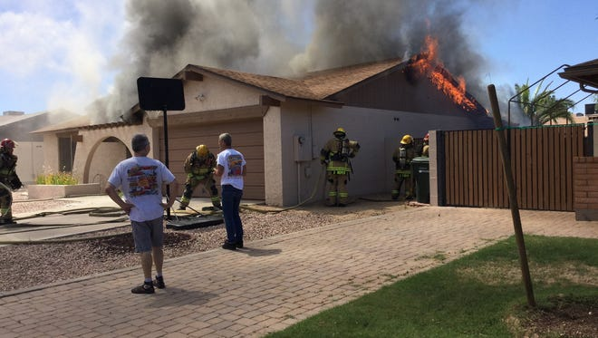 A house fire at 36th Avenue and Campo Bello Drive in Phoenix left a family displaced; their dog was killed in the fire.
