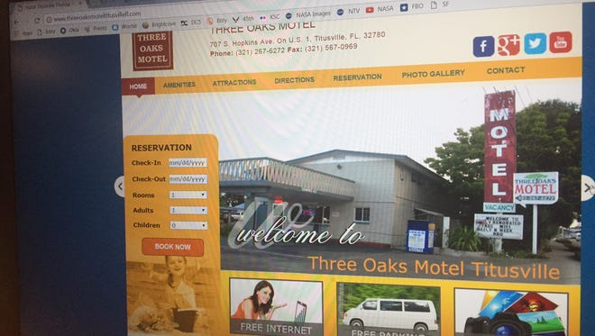 Screen shot showing website of the Three Oaks Motel located at 707 S. Hopkins Ave. in Titusville.