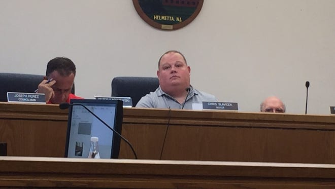Helmetta Mayor Christopher Slavicek discussed the Helmetta Police Department at Wednesday's Borough Council meeting.