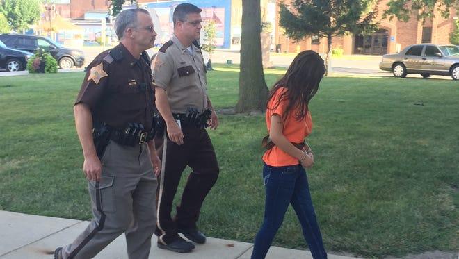 Alia Sierra, 17, of Frankfort, arrives to court Friday, Aug. 18, 2017.