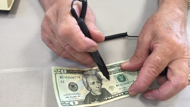 Counterfeit pens detect the presence of starch in fake money. Real currency contains no starch.