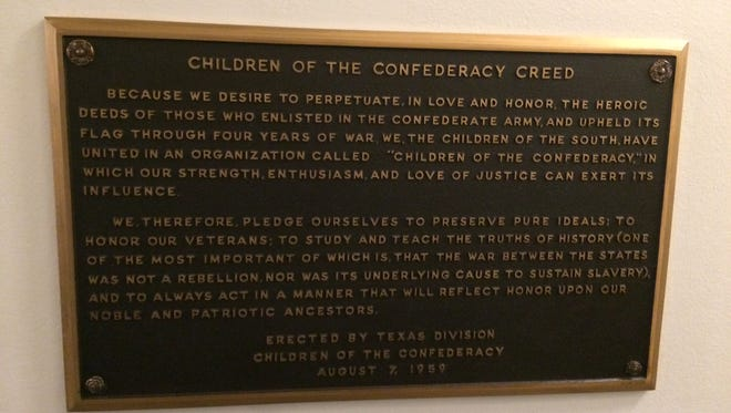 The Children of the Confederacy plaque in the Texas Capitol