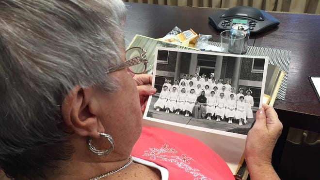 The Saint Peter's School of Nursing Class of 1957 gathered at Saint Peter's University Hospital for their 50th reunion Thursday. Eleven members out of 29 graduates came for a luncheon and hospital tour.
