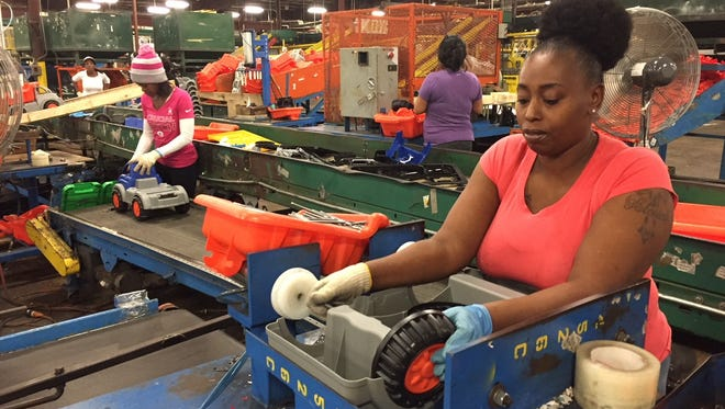 Nicole Medlock of Olive Branch has worked at American Plastic Toys for 10 years.