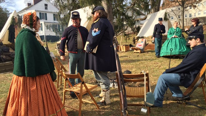 "Soldiers from the 7th NJ Regiment with family and friends  at ""Winter on the Home Front: A Civil War Christmas"" at Historic Speedwell in Morristown."