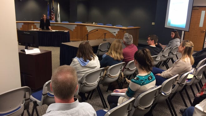 Stacie Christian, director of inclusive excellence at UW-Green Bay, gives a presentation about gender identity and sexual orientation issues at De Pere City Hall on Feb. 27, 2018.