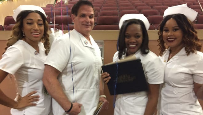 Shareen Broom, left, Joseph Gurecki, Tiffany Wallace and Briana Morgan recently graduated withnursing degrees from the Indian River County School District's Technical Center for Career and Adult Education's Practical Nursing Program.