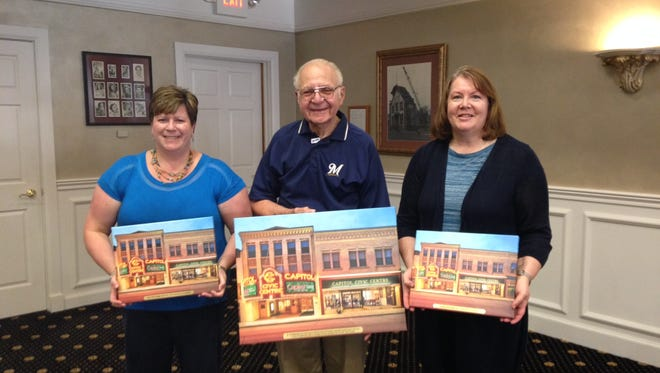 Manitowoc Capitol Civic Centre outgoing board members include, from left: Amy Fricke-Weigel, Joe DiRaimondo and Lauretta Krcma-Olson.