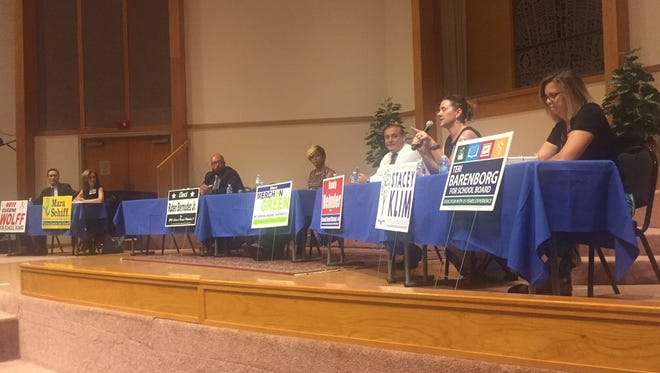 Seven of nine candidates for Indian River County School Board attended a forum held at the Unitarian Universalist Fellowship of Vero Beach July 12, 2018.