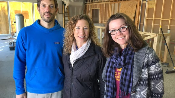 Sidewall Pizza Co. owners, Andy O'Mara and Loren Frant with general manager, Britney Dunnebacke, say they plan to open in early January.