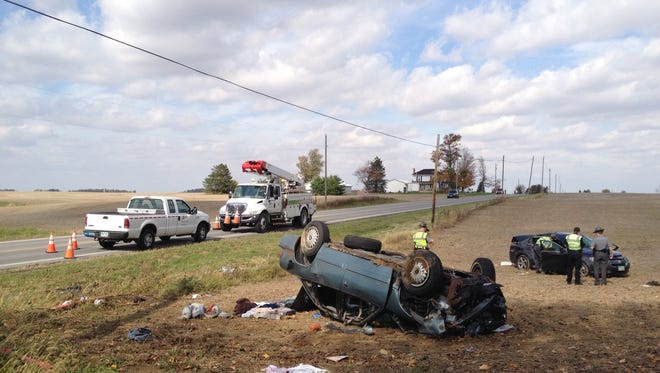 Two people were killed and four injured in a collision north of Bucyrus at Ohio 4 and Brokensword Road Friday afternoon.