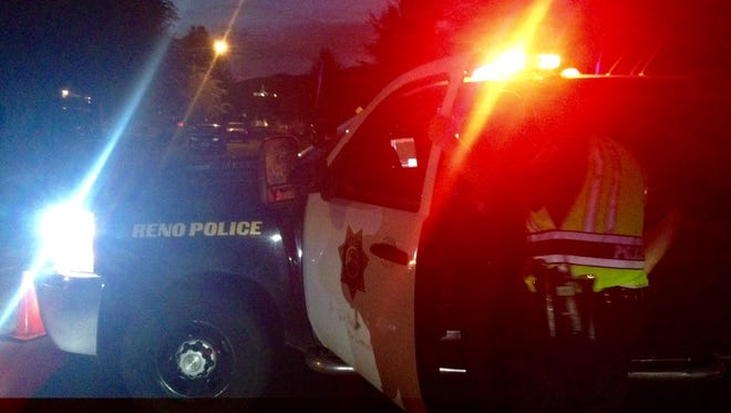 Reno police at the scene Saturday night.
